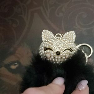 Handbags - Black fox keychain or hang from handbag